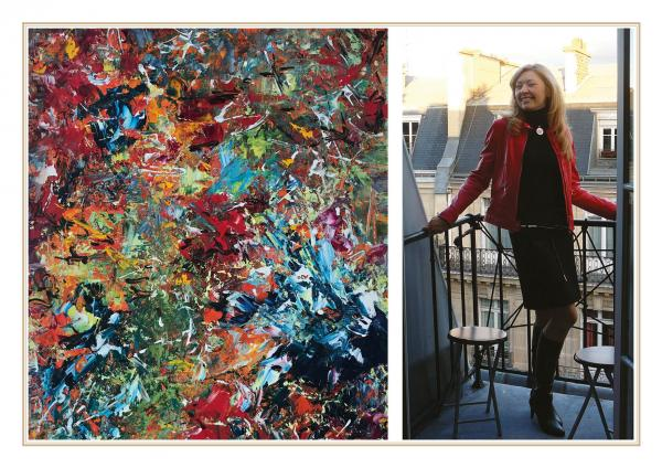 Diana Malivani in the balcony of her Paris home (17th district, near Parc Monceau), and one of her favourite abstract artworks, «State of Mind»